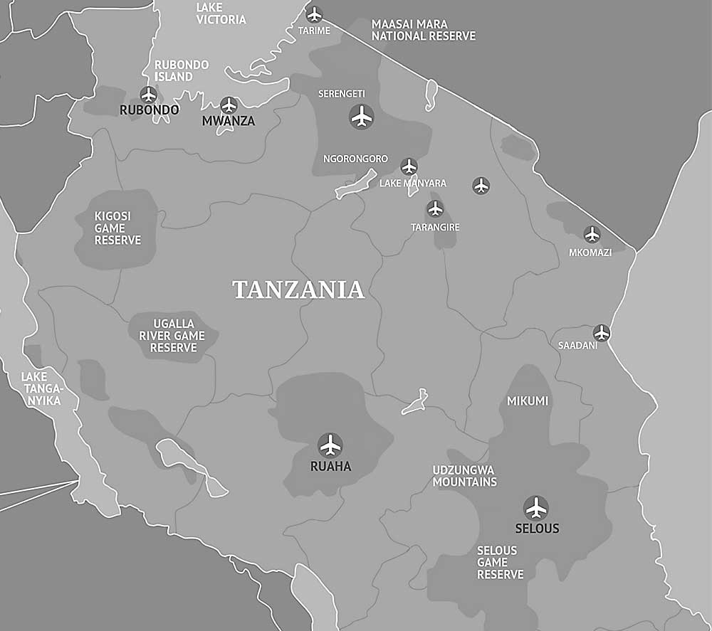 Landing Strips (airports) in Tanzania game parks