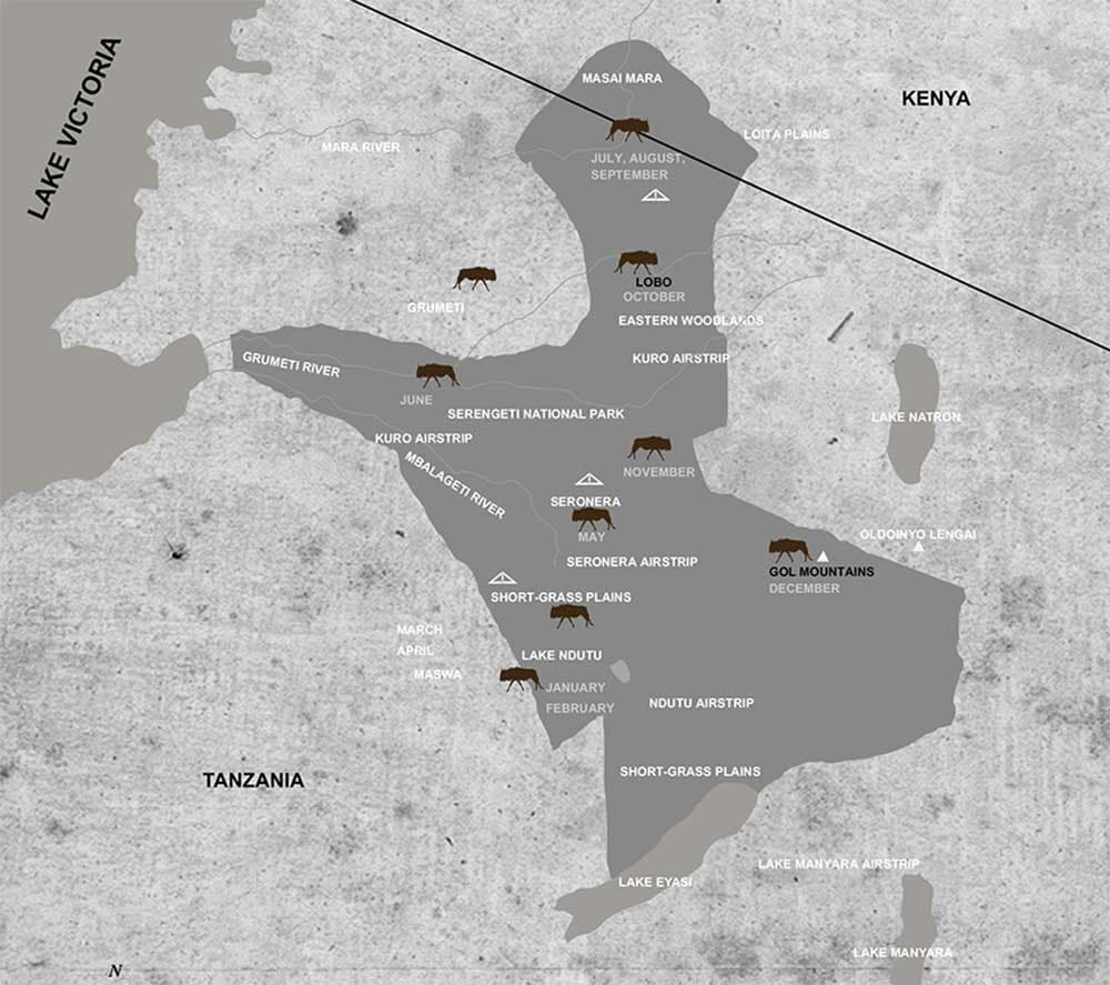 Tanzania's Great Migration Map - where are the wildebeest?